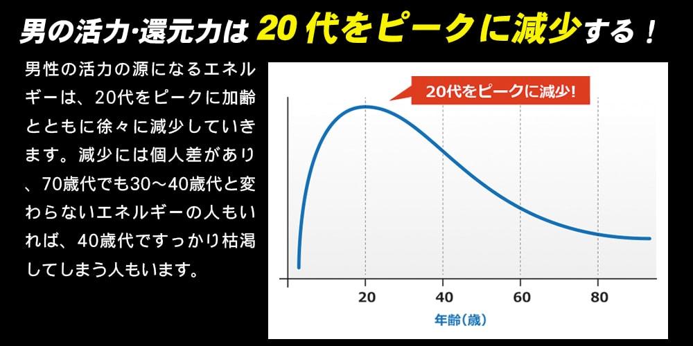 男の活力・還元力は20代をピークに減少する!「男性の活力の源になるエネルギーは、20代をピークに加齢とともに徐々に減少していきます。」