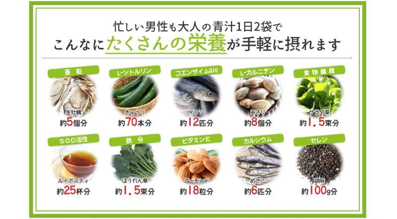 忙しい男性も大人の青汁1日2袋でたくさんの栄養が手軽に摂れます!